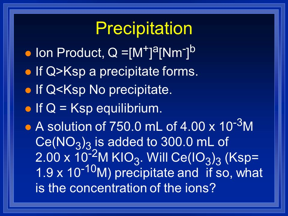 Precipitation Ion Product, Q =[M+]a[Nm-]b